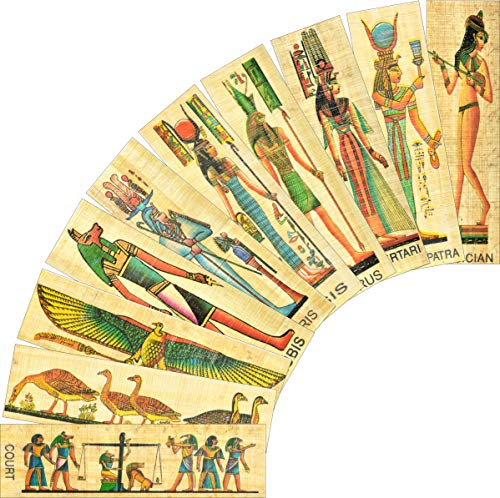 NileCart Pack of 10 Egyptian Papyrus Bookmarks Made in Egypt with Ancient Egyptian Gods,Egyptian Kings and Queens.