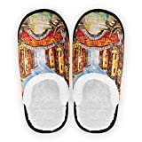 Mnsruu Zapatillas de algodón antideslizantes para casa de castillo de Venecia, Italia, para casa, hotel, spa, dormitorio, viaje, M, para hombres y mujeres