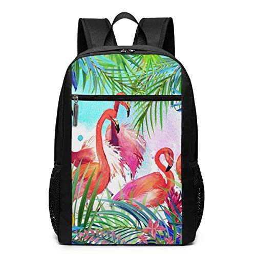 TRFashion Rucksack Tropical Pink Flamingos with Flowers Laptop Computer Backpack 17 Inch Large Casual Business Daypack Laptop Bag Schoolbag Book Bag for Men Women Black