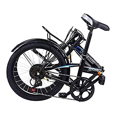 20 Inch Bike Adult Folding Mountain Bike, 7 Speed Exercise Bike, Around The Block Womens Beach Cruiser Road Bicycle, Professional Full Suspension, Aluminum Frame for Men and Women