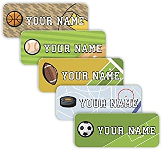 Original Personalized Peel and Stick Waterproof Custom Name Tag Labels for Adults, Kids, Toddlers, and Babies – Use for Office, School, or Daycare (Sports Theme)