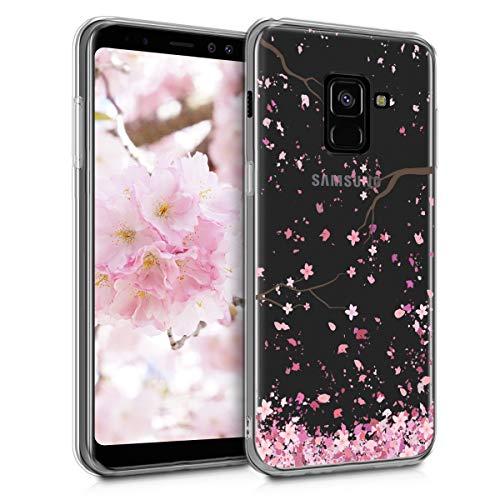 kwmobile Funda Compatible con Samsung Galaxy A8 (2018) - Carcasa de TPU y Flores Cerezo cayendo en Rosa Claro/marrón Oscuro/Transparente