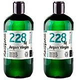 Naissance Aceite Vegetal de Argán de Marruecos BIO n. º 228-1 Litro (2x500ml) - Puro, natural, vegano, certificado ecológico, sin hexano y no OGM - Hidratación natural para el cabello.