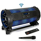 Portable Bluetooth Boombox Stereo System - 600 W Digital Outdoor Wireless Loud Speaker w/LED Lights, FM Radio, MP3 Player, USB, Wheels, w/Karaoke Microphone, Remote Control - Pyle PBMSPG198