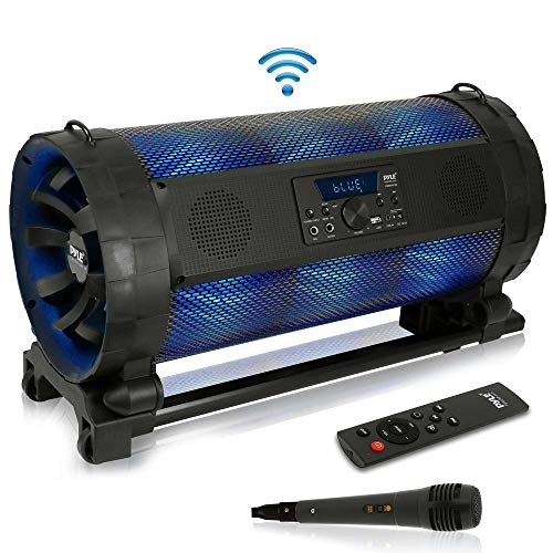 Portable Bluetooth Boombox Stereo System - 600 W Digital Outdoor Wireless Loud Speaker w/LED Lights, FM Radio, MP3 Player, USB, Wheels, w/Karaoke Microphone, Remote Control - Pyle PBMSPG198