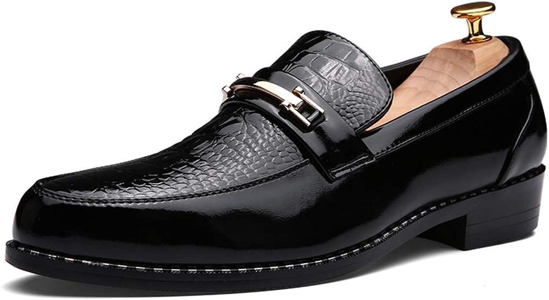 Ying xinguang xinguang xinguang Herren Lederschuhe Oxford Casual Retro Poliert Persönlichkeit genäht Metall Dekoration Formale Schuhe (Farbe   Schwarz, Größe   43 EU)  549659