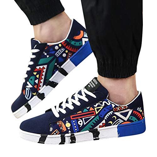 Behkiuoda Men Sport Running Shoes Lace-Up Sneakers Round Toe Walking Mountaineering Shoes Blue