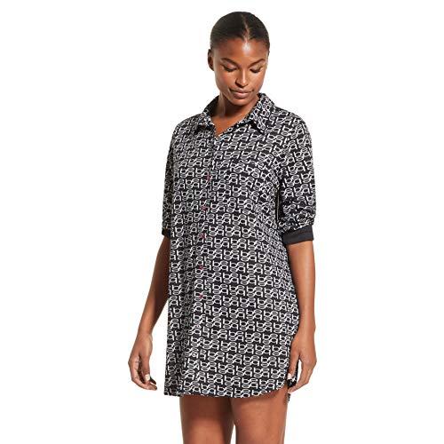 bebe Womens Logo Nightgown Lounge Pajama Dorm Sleep Shirt Black Medium