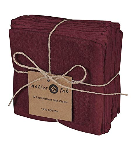 Native Fab Waffle 12 Pack Kitchen Dish Cloths Cotton 12x12 Absorbent Washable, Dish Towels, Restaurant Cleaning Towels, Bar Mops Towels, Rags for Home Kitchen Bars, Burgundy Wine
