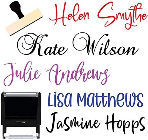 Custom Name Signature Stamp 10 Font Options Self Inking 1 or 2 Line Stamper with Personalized product image