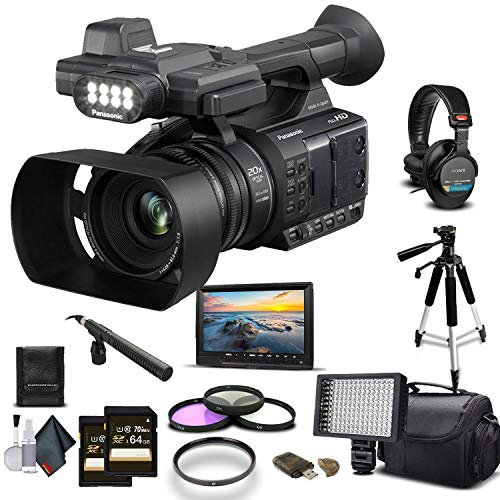 Panasonic AG-AC30 Full HD Camcorder (AG-AC30PJ) 2-64GB Memory Card, UV Filter, LED Light, Case, Tripod, Rode Mic, External Screen Sony MDR-7506 Headphones - Professional Bundle