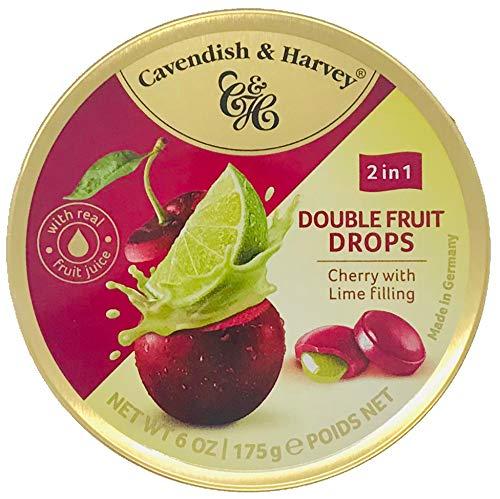 Cavendish & Harvey Double Fruit Drops Cherry with Lime Filling: Kirsch-Bonbons mit flüssiger Limettenfüllung ( 1 x 175g )