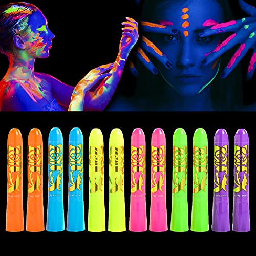 12 Pcs Glow in The Black Light Body Face Paint, UV Neon Crayons Kit Fluorescent Body Paints for Adults, Face Painting Kit for Birthday Party Halloween Masquerade Makeup Outdoor for Kids