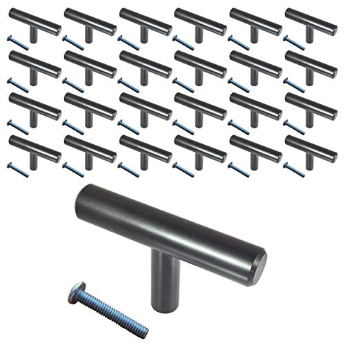 (25 Pack, L: 4 Inches CC: 2 Inches) Swiss Kelly Matte Black Kitchen Cabinet Pull Drawer Handle Knob