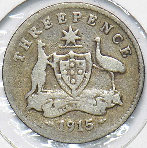 1915 AU Australia 1915 800,000 minted 3 Pence Kangaroo animal...