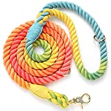 NUGUTIC 5 FT 1/2in Dog Leash Braided Cotton Heavy Duty - Comfortable Dog Leashes for Small Medium and Large Dogs