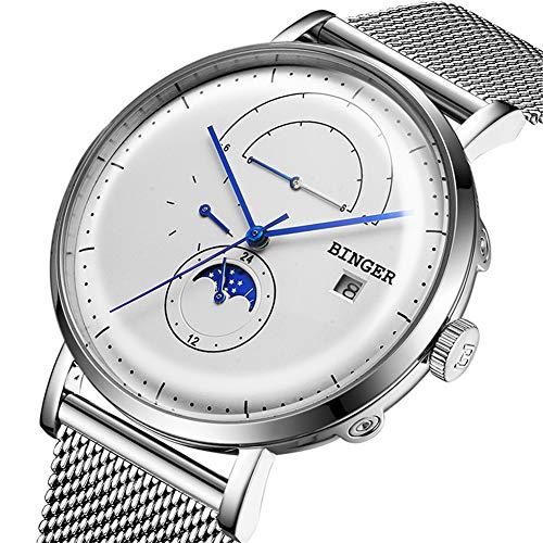 Binger Svizzera Orologio da Uomo Automatico Orologio Meccanico Maschile Movimento Sapphire Japan Cinturino in Acciaio Inossidabile con Fasi lunari, Calendario Completo 8610M,White