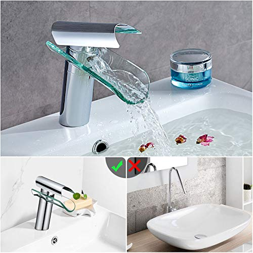 Auralum Wasserhahn Glas Spüle Waschtisch Waschtischarmatur Armatur für Bad - 6