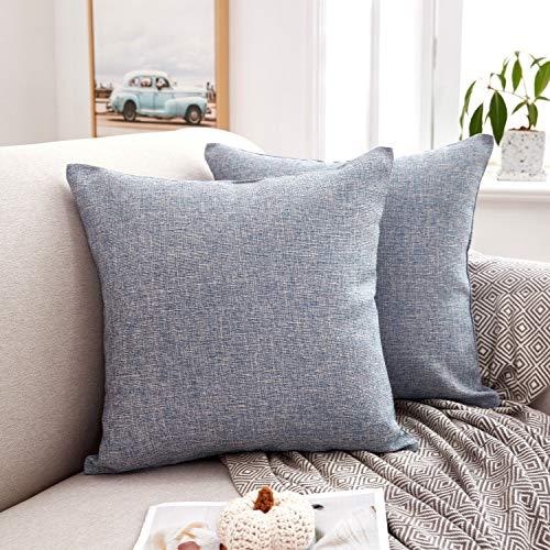 MERNETTE - Federa per cuscino rettangolare in misto cotone e lino, decorativa, per divano, letto, per la casa