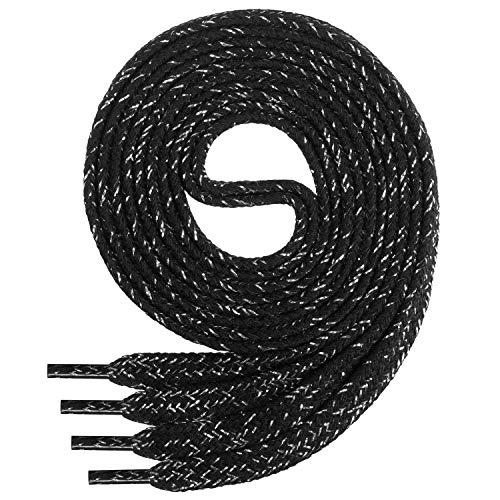 Di Ficchiano Flache SCHNÜRSENKEL aus 100% Baumwolle für Sneaker und Sportschuhe - sehr reißfest - ca. 7 mm breit-black/silver-140