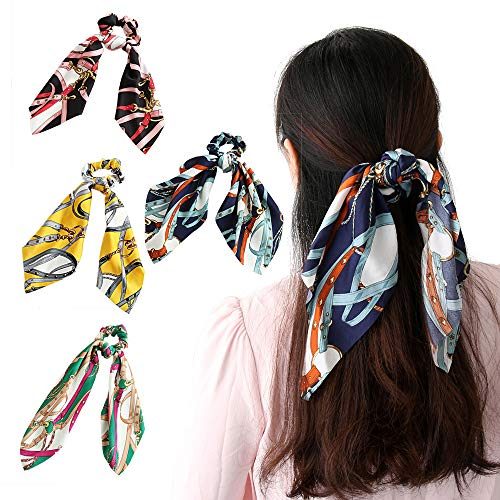 Beauty Wig World Hair Scarf Silk Scrunchies Ponytail - (4 Pack) Chain Detail Unique Hair Ties Designs to match Different Outfits – Satin Silk Hair Bands for Women Teen Tween Hair Scarves Tie 1