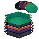 K.T. Fancy Dice Tray 4 Pieces Folding D&D Dice Tray Dice Holder Storage Box for Dice Rolling Tray PU Leather and Velvet