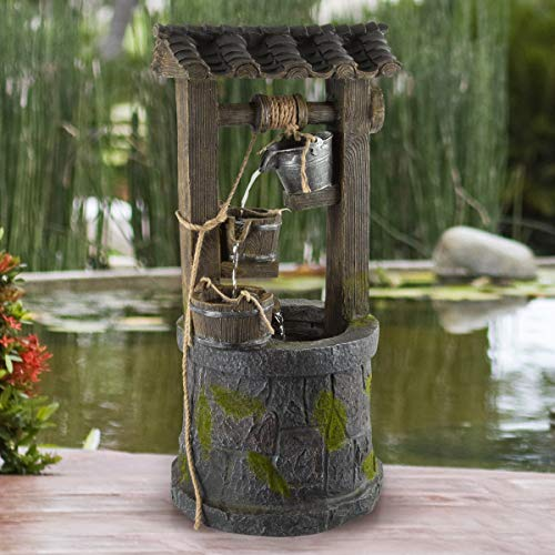 Pure Garden 50-LG1215 Wishing Well Fountain-4-Tier Polyresin Cascading Waterfall, Silver