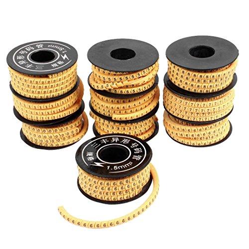Kabelmarkörer från källmap, för siffror 0–9, tillverkad av PVC, 1,5 mm, gul, 10 rullar
