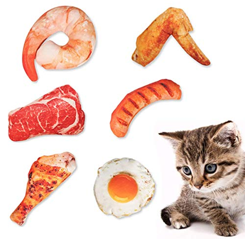 Yisscen Interaktives Kauspielzeug Katzenminze, 6 pcs Katzen/Hund Kauspielzeug für Hummer, Hähnchenschenkel, Eier, Hähnchenflügel, Fleisch, Schinken, Baumwolle Ungiftig und Geruchlos Katzen Spielsachen