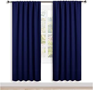 NICETOWN Bedroom Curtains Blackout Draperies - Thermal Insulated Solid Top Pocket Blackout Drapes for Kid's Room (Dark Blue, 1 Pair, 52 x 72 Inch)