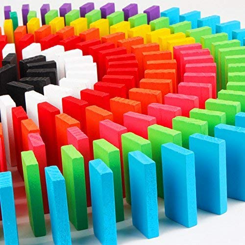 Trinkets & More 100 Pieces Dominoes Blocks Set Wooden Toy Building and Stacking Counting Adding Subtracting Multiplication Indoor Game Toy Educational Toy for Kids 3+Years (12 Colours).