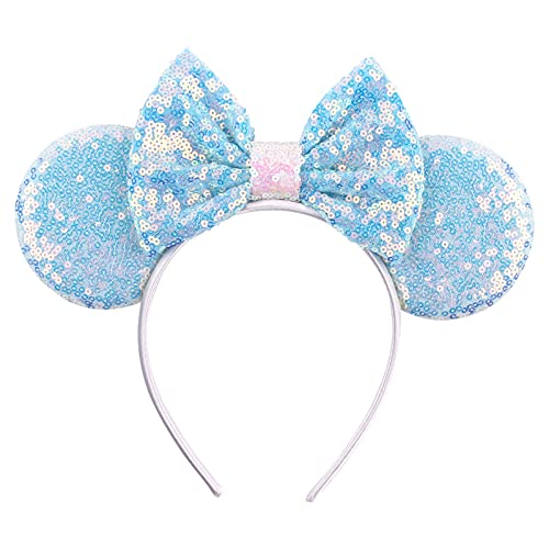 Joycola Mouse Ears Bow Headbands Glitter Mouse Ear Hairband Party Princess Decoration Cosplay Costume for Girls and Women