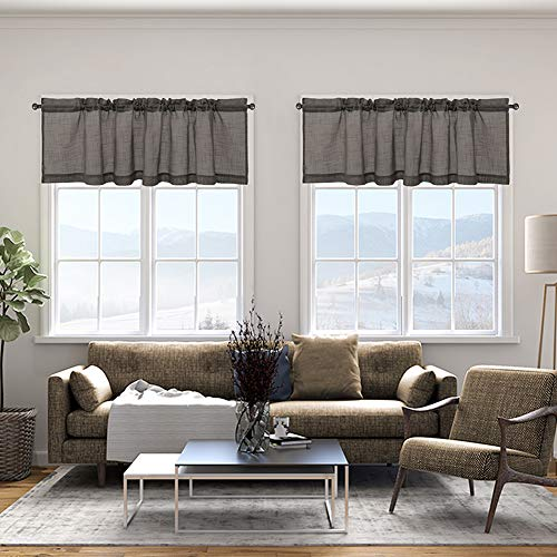 Cozynight Gray Sheer Tier Curtains 16 inch Length Linen Curtain Sheers Transparent Half Window Curtains Kitchen Tiers Bathroom Small Curtains Cafe Curtains Light Filtering Rod Pocket 1 Panels
