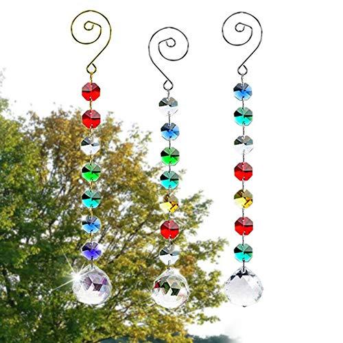 SunAngel Colorful Jewelry Crystals Pendants ampChandelier Suncatchers Prisms Hanging Ornament Octogon Chakra Crystal Pendants for HomeOfficeGarden Decoration