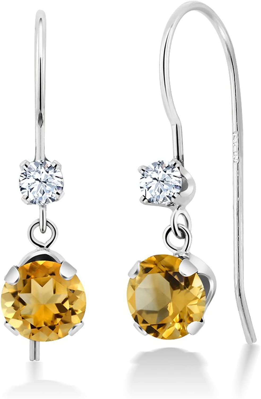 1.00 Ct Round Yellow Citrine 14K White gold Earrings