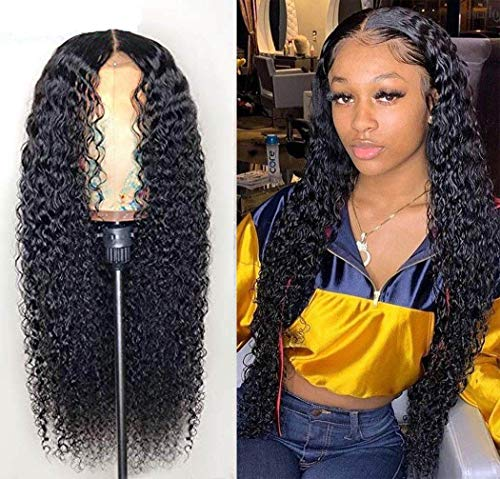 West Kiss Hair Deep Wave Lace Frontal Wigs Pre Plucked With Baby Hair,180% Density Brazilian Deep Curly Wet and Wavy Human Hair Wigs for Black Women(18 inches,natural black color)