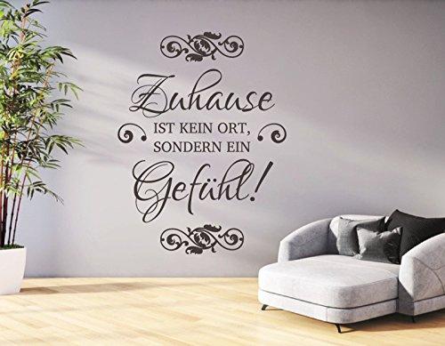 tjapalo® dGR-pkm58 Wandtattoo Wohnzimmer Flur Aufkleber Wandaufkleber Wandtatoo Spruch Zuhause ist kein Ort sondern ein Gefühl (H100 x B58 cm)