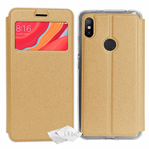 Desconocido Funda Folio Oro Metal dedicada al Xiaomi Redmi S2con Ventana de visualización, Puerta Tarjeta y Tapa magnético