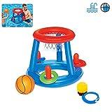 You's Auto Piscine Gonflable Jouets Panier de Basket Flottants+ Filet de Volleyball Flottants +But de Handball avec Ballon pour Piscine Plage Enfant Adult (Panier de Basket)