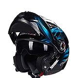 Mdder Modularer Motorradhelm Flip Racing Motorradhelm Vollhaube Motorrad voll regulierbare Umluftbelüftung - 1 Blue Dream X XXL