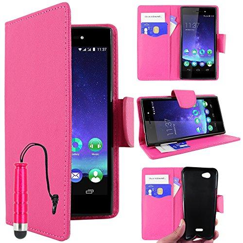 ebestStar - kompatibel mit Wiko Highway Star 4G Hülle Kunstleder Wallet Case Handyhülle [PU Leder], Kartenfächern, Standfunktion + Mini Stift, Pink [Phone: 141 x 71.4 x 6.6mm, 5.0'']