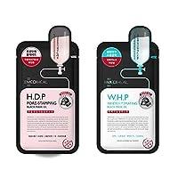 [10+10] [メディヒール] Mediheal [WHP ホワイト ハイドレイティング ブラック マスク EX (10枚)] + Mediheal H.D.P Pore stamping Charcoal mineral mask 毛穴スタンプ炭ミネラルマスク (10枚) [並行輸入品]