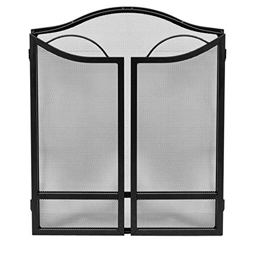 JLXJ Pantalla Chimenea Retro Negro Pantalla de La Chimenea Exterior, Plegable de 3 Paneles Extra Grande Guardia Independiente del Hogar con Malla Metálica, para la Decoración del Hogar en Interiores