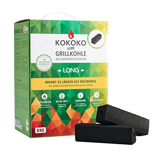 McBrikett KOKOKO LONG Premium Grillkohle, 8 kg Bio Kokos Grillbriketts