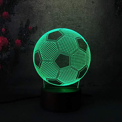 YHZSML 3D fútbol Soccer LED decoración del hogar Kid Sleep Lamp Touch SensorNight Light Soccer Madrid Fans Gift 7 Color Chang Light Lamp