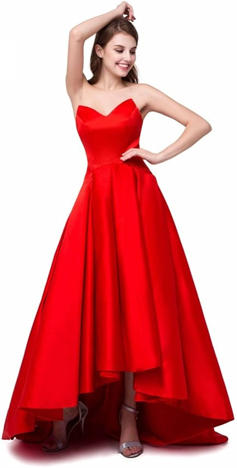 MARSEN High Low Prom Dresses Womens Aline Satin V Neck Formal Evening Party Gowns with Pockets