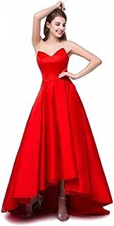 Satin Prom Dresses Strapless Hi-Lo V-Neck Aline Long Evening Formal Gowns with Pockets