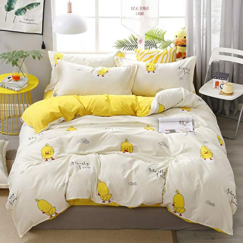 HOLY HOME Kid's Cute Cartoon Bedding Premium Super Soft & Comfy Duvet Cover Set 4 Pieces (Single, Duck)