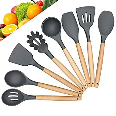 YIMY Silicone Kitchen Utensil Set , 8 Piece Cooking Utensils Natural Wooden Handle , Non-Stick and Heat Resistant Cookware Set ,Best Food Grade Silicon BPA Free Kitchen Tools