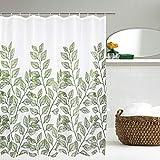 Alishomtll Blätter Duschvorhang Wasserdicht Stoff Anti-Schimmel inkl. 12 Ringe Waschbar Badewannevorhang 175x178cm Grün Weiß